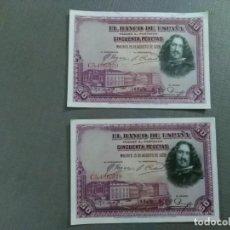 Monedas de España: DOS BILLETES 50 PESETAS 1.928. CORRELATIVOS. Lote 195176131