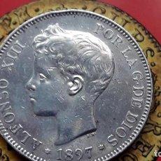 Monedas de España: 5 PESETAS ALFONSO XIII 1897 ``97,ESPECTACULAR . Lote 195198855