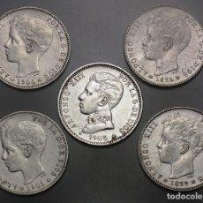 Monedas de España: 5 MONEDAS DE 1 PTA. ALFONSO XIII 1896 (*96) - 1899 (*99) - 1900 (*00) - 1901 (*01) Y 1905 ( *05). Lote 195216408