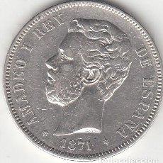 Monedas de España: AMADEO I: 5 PESETAS 1871 - ESTRELLAS 18-71 / PLATA. Lote 195233103