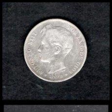 Monedas de España: ESPAÑA, ALFONSO XIII 1 PESETA 1899 18-99 SG-V (PLATA) MBC. Lote 195299055