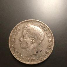 Monedas de España: MONEDA 5 PESETAS 1897. PLATA. ESTRELLAS VISIBLES 18-97. Lote 195304031