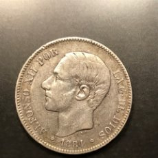 Monedas de España: MONEDA 5 PESETAS 1884, ESTRELLAS VISIBLES 18-84. PLATA. Lote 195304500
