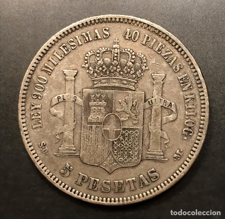Monedas de España: Moneda 5 pesetas 1871, estrellas visibles 18-71. Plata - Foto 2 - 195305716