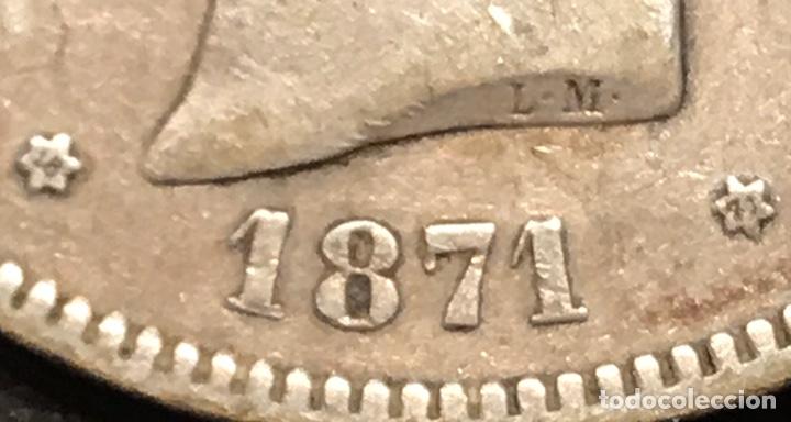 Monedas de España: Moneda 5 pesetas 1871, estrellas visibles 18-71. Plata - Foto 3 - 195305716