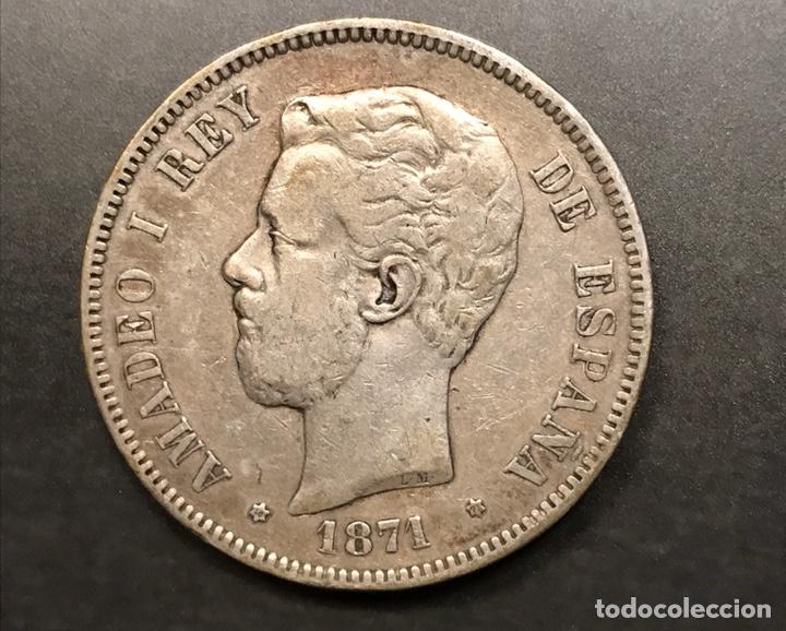 MONEDA 5 PESETAS 1871, ESTRELLAS VISIBLES 18-71. PLATA (Numismática - España Modernas y Contemporáneas - De Isabel II (1.834) a Alfonso XIII (1.931))
