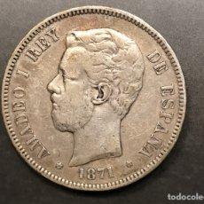 Monedas de España: MONEDA 5 PESETAS 1871, ESTRELLAS VISIBLES 18-71. PLATA. Lote 195305716