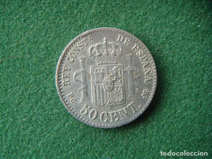 Monedas de España: 50 céntimos plata. 1892 *(6-2) PG.M - Alfonso XIII - LA VARIANTE MÁS RARA Y DIFÍCIL. - Foto 2 - 195362077