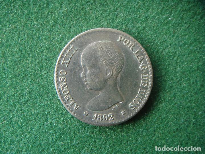 50 CÉNTIMOS PLATA. 1892 *(6-2) PG.M - ALFONSO XIII - LA VARIANTE MÁS RARA Y DIFÍCIL. (Numismática - España Modernas y Contemporáneas - De Isabel II (1.834) a Alfonso XIII (1.931))