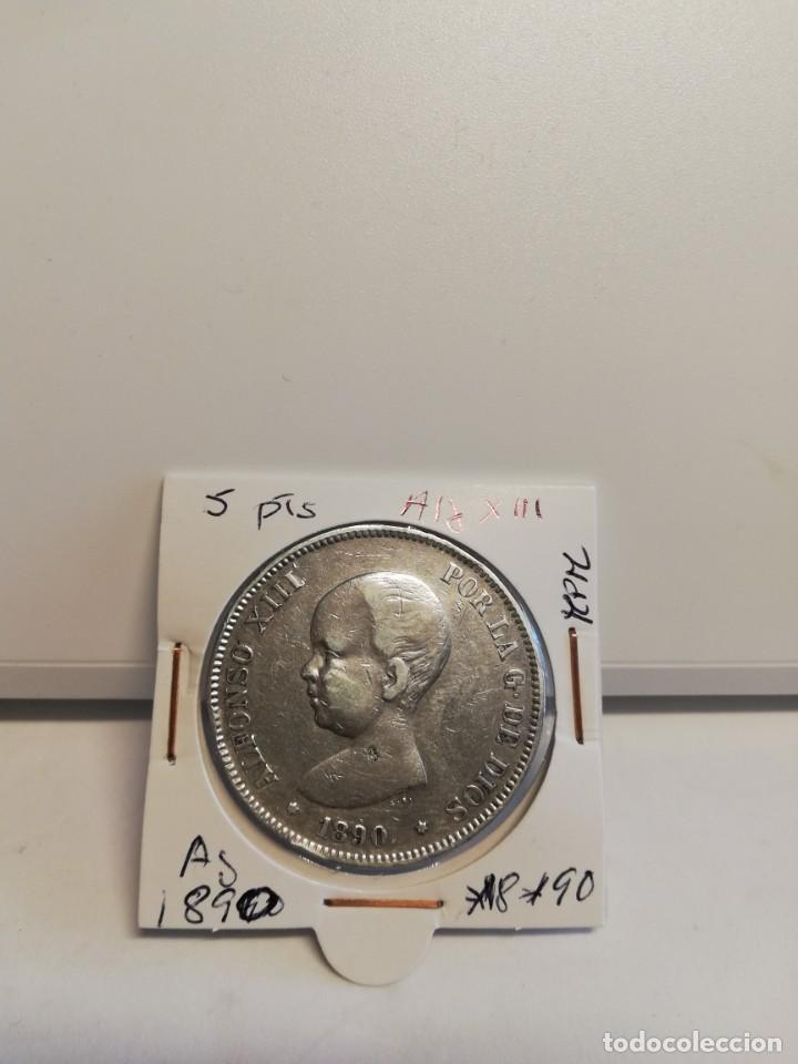 MONEDA DE PLATA 5 PESETAS ALFONSO XIII 1890*18*90 (Numismática - España Modernas y Contemporáneas - De Isabel II (1.834) a Alfonso XIII (1.931))