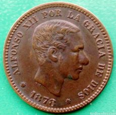 Monedas de España: 5 CENTIMOS DE COBRE ALFONSO XII. 1878. BARCELONA ( OM ) CASI SIN CIRCULAR !!. Lote 195429342