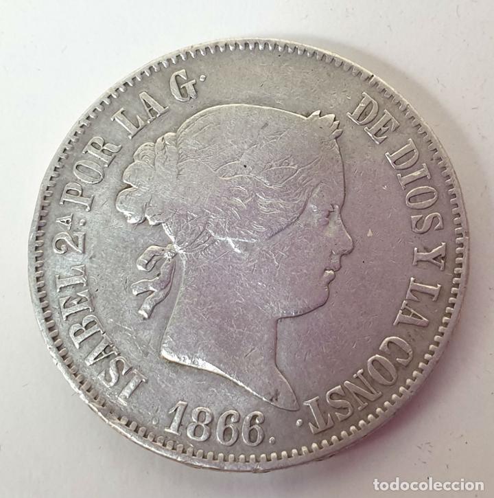 MONEDA DE PLATA. ISABEL II. POR LA G. DE DIOS Y LA CONSTITUCION. 1 ESCUDO. 1866. (Numismática - España Modernas y Contemporáneas - De Isabel II (1.834) a Alfonso XIII (1.931))