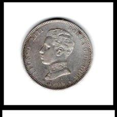 Monedas de España: ESPAÑA, ALFONSO XIII, 2 PESETAS 1905 19*05 SM-V (PLATA) MBC+. Lote 195500345