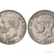Monedas de España: LOTE 2 MONEDAS 5 PESETAS. 1882 (*82) Y 1883. M.S.-M. MBC+. Lote 195513436