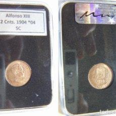 Monedas de España: MONEDA DE ALFONSO XIII 2 CENTIMOS 1904 *04 SIN CIRCULAR EN CAPSULA CERTIFICADA. Lote 195525498
