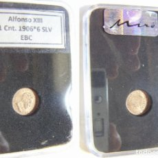 Monedas de España: MONEDA DE ALFONSO XIII 1 CENTIMO 1906 *6 SLV EBC EN CAPSULA CERTIFICADA. Lote 195525545