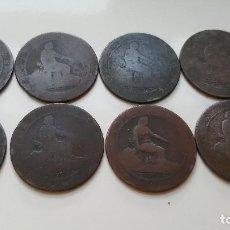 Monedas de España: LOTE 8 MONEDAS DE COBRE REY ALFONSO XII DE DIEZ CENTIMOS 1877. Lote 195529176