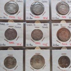 Moedas de Espanha: LOTE DE 9 MONEDAS DE 4 REALES DE PLATA Y 40 CÉNTIMOS DE ESCUDO DE PLATA. 1848, 1849, 1866, 1867. Lote 195539053