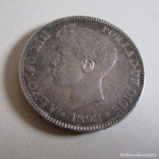 Monedas de España: ESPAÑA 5 PESETAS ALFONSO XIII, 1898 ESTRELLA 98 LEGIBLE S.G. V. EBC 25G PLATA. Lote 195559347