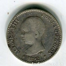 Monedas de España: 50 (CINCUETA) CENTIMOS ALFONSO XIII AÑO 1892 *9 *2 PGM PLATA ESTRELLAS MUY CLARAS. Lote 113217255