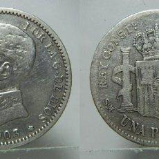 Monedas de España: MONEDA DE ALFONSO XIII 1 PESETA 1903 PLATA. Lote 195921627