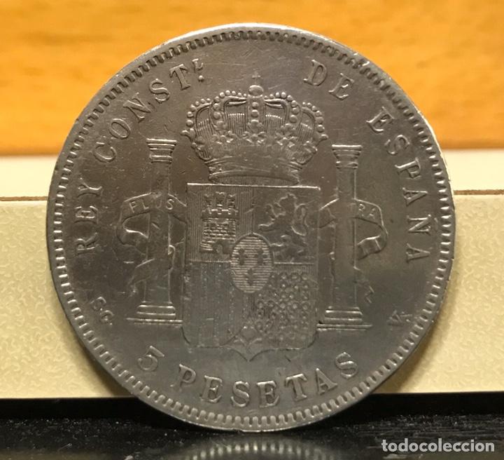 Monedas de España: Moneda 5 pesetas 1897. Plata. Estrellas visibles 18-97 - Foto 2 - 195304031