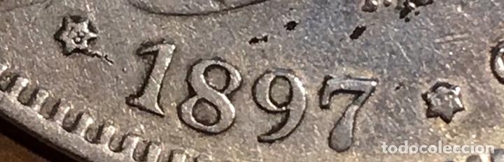 Monedas de España: Moneda 5 pesetas 1897. Plata. Estrellas visibles 18-97 - Foto 3 - 195304031