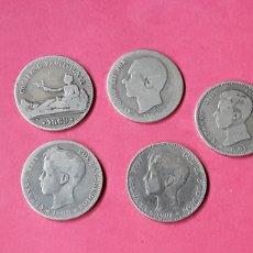 Monedas de España: LOTE 5 MONEDAS 1 PESETA. 1869-1904. Lote 196294332
