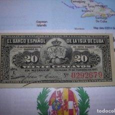 Monete da Spagna: UN (1) BILLETE S/C DE 20 CENTAVOS DE PESO DEL BANCO DE ESPAÑA DE LA ISLA DE CUBA (1897).. Lote 196635946