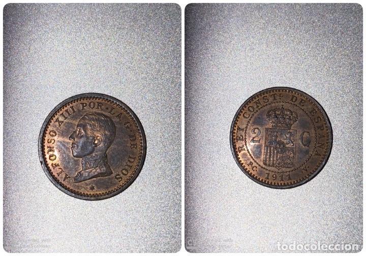 MONEDA. ESPAÑA 2 CENTIMOS. 1911. PCV. S/C. ESTRELLA *11*. VER FOTOS (Numismática - España Modernas y Contemporáneas - De Isabel II (1.834) a Alfonso XIII (1.931))
