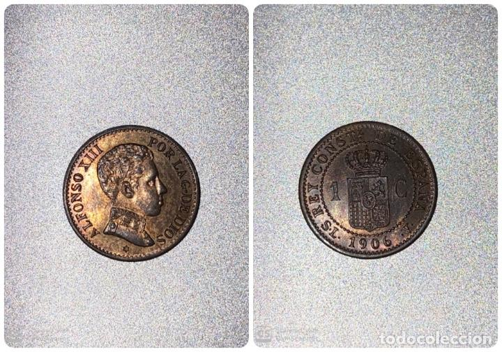 MONEDA. ESPAÑA 1 CENTIMO. 1906. SLV. S/C. ESTRELLA *6*. VER FOTOS (Numismática - España Modernas y Contemporáneas - De Isabel II (1.834) a Alfonso XIII (1.931))
