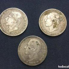 Monete da Spagna: 3 MONEDAS DE ALFONSO XII - 2 PESETAS - 1882 MSM - PLATA -. Lote 197430603