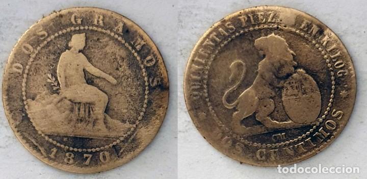 ESPAÑA 2 CÉNTIMO, 1870 - KM# 661 (Numismática - España Modernas y Contemporáneas - De Isabel II (1.834) a Alfonso XIII (1.931))