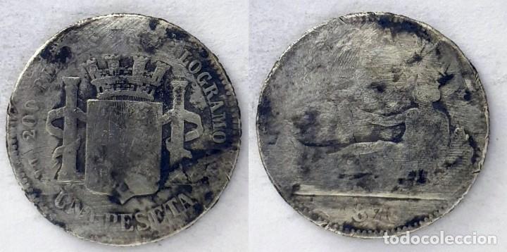 ESPAÑA 1 PESETA, 1870 - KM# 653 - PLATA 0.835 (Numismática - España Modernas y Contemporáneas - De Isabel II (1.834) a Alfonso XIII (1.931))