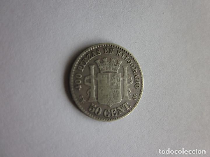 Monedas de España: 50 Céntimos. Gobierno Provisional. 1869. 6-9. Plata. - Foto 2 - 198555490