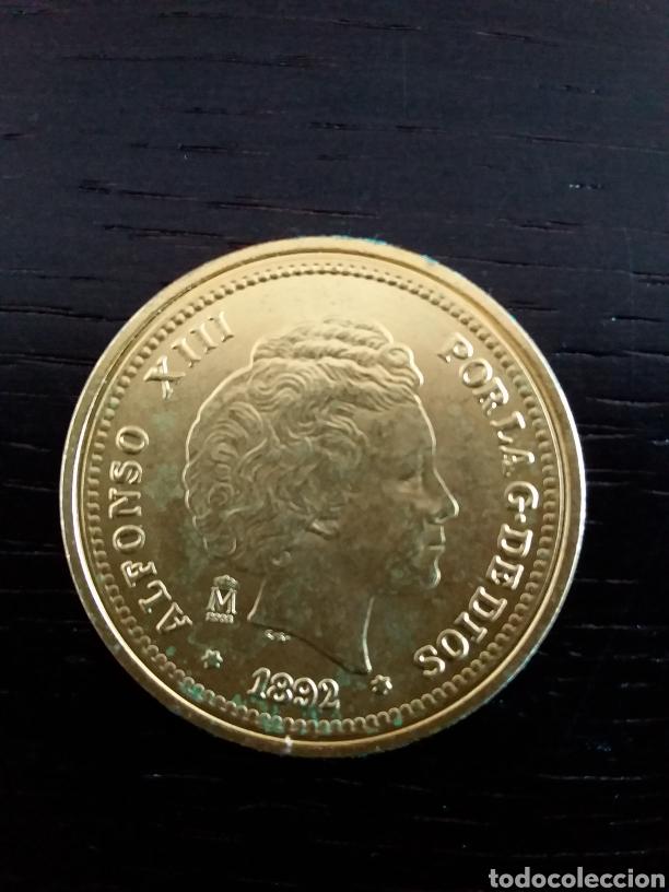 MONEDA 5 PESETAS ALFONSO XIII 1892. REPRODUCCIÓN (Numismática - España Modernas y Contemporáneas - De Isabel II (1.834) a Alfonso XIII (1.931))