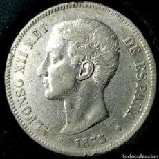 Monedas de España: NQ 114. 5 PESETAS 1875 *--*75 DEM. Lote 198953275