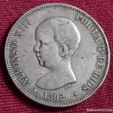 Monedas de España: ALFONSO XIII .5 PESETAS 1892 --*92 PELÓN. Lote 198987888