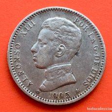 Monedas de España: II RARA !! MONEDA DE 1 PESETA DE ALFONSO XII. AÑO 1905. *19*05. Lote 199125536