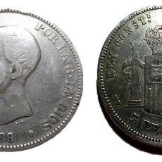 Monedas de España: MONEDA 5 PTS PLATA ALFONSO XIII 1889 (89). Lote 197428385