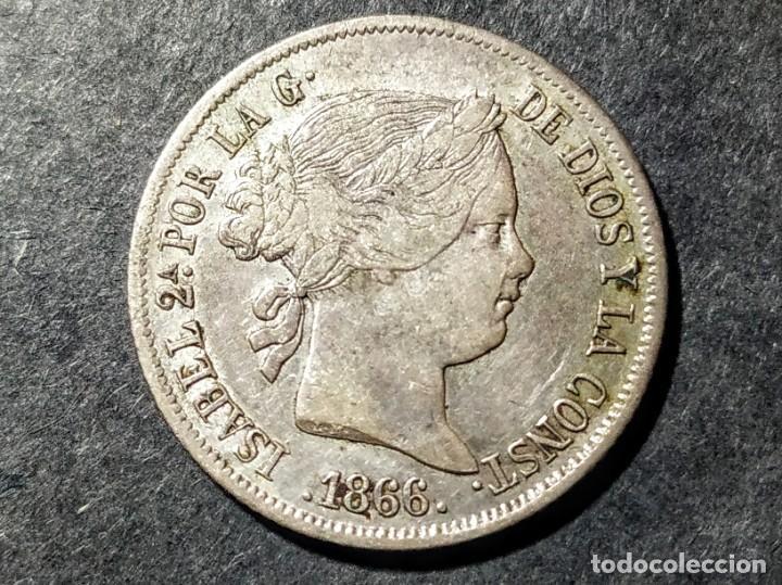 40 CÉNTIMOS DE ESCUDO - ISABEL II 1866 MBC (Numismática - España Modernas y Contemporáneas - De Isabel II (1.834) a Alfonso XIII (1.931))