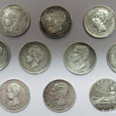 Monedas de España: 10 MONEDAS DE 5 PESETAS DE PLATA GOBIERNO PROVISIONAL, AMADEO I, ALFONSO XII, ALFONSO XIII LOTE 2516. Lote 199576210