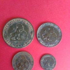 Monedas de España: GOBIERNO PROVISIONAL.1870. LOTE CON LOS 4 COBRES. MBC.. Lote 199694471