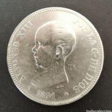 Monedas de España: MONEDA 5 PESETAS PLATA 1891 ALFONSO XLLL. Lote 199698741
