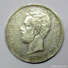 Monedas de España: AMADEO I, 5 PESETAS DE PLATA 1871 * 18 - 71. MADRID-S.D.M. DURO DE PLATA. LOTE 2531. Lote 199703056