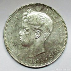 Monedas de España: ALFONSO XIII, 5 PESETAS DE PLATA 1896 * 18 - 96. P.G.V . EBC. . LOTE 2532. Lote 199703578