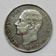 Monedas de España: ALFONSO XII, 5 PESETAS DE PLATA 1885 * 18 - 87 M.S.M. DURO DE PLATA. LOTE 2534. Lote 199704798