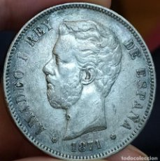 Monedas de España: AMADEO I 5 PESETAS 1871 18*75 (MBC). Lote 199708906