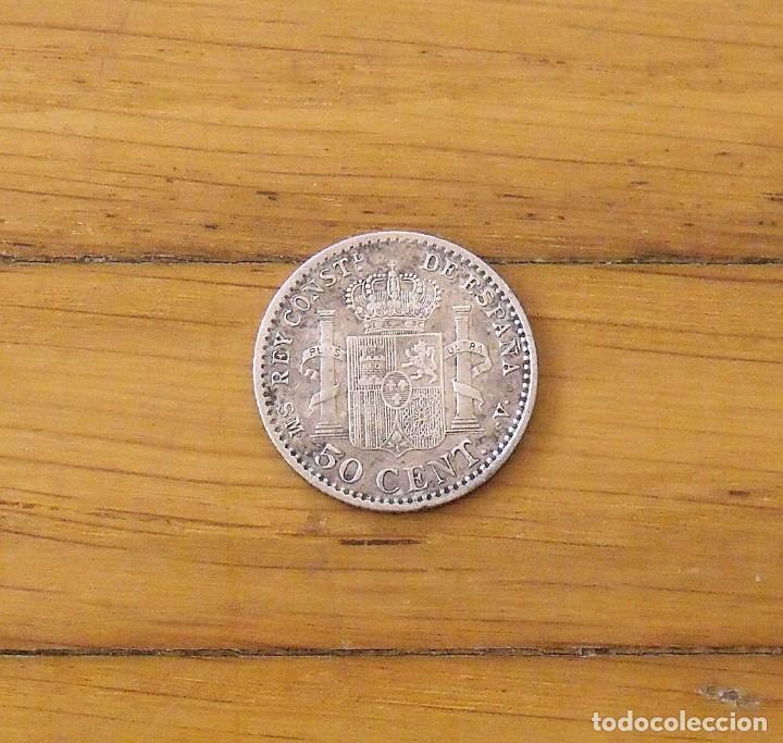 50 CÉNTIMOS DE PLATA. ALFONSO XIII. 1904. BUEN ESTADO. 2 CM. (Numismática - España Modernas y Contemporáneas - De Isabel II (1.834) a Alfonso XIII (1.931))