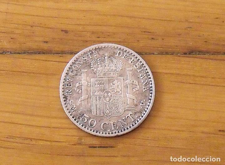Monedas de España: 50 céntimos de plata. Alfonso XIII. 1904. Buen estado. 2 cm. - Foto 2 - 199728405